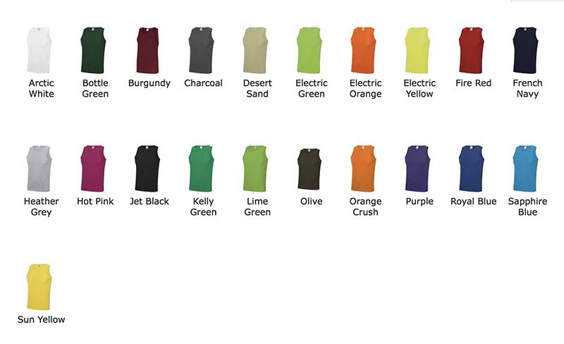 couleurs débardeur sport personnalisable